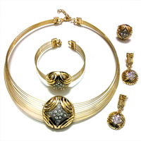 QYJS134 Elegant Czech Crystal Design,Double Color Style,Rose Gold&Real Gold Plated,Alloy Jewelry Set