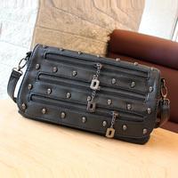2013 punk skull bag zipper decoration messenger bag women's small bag