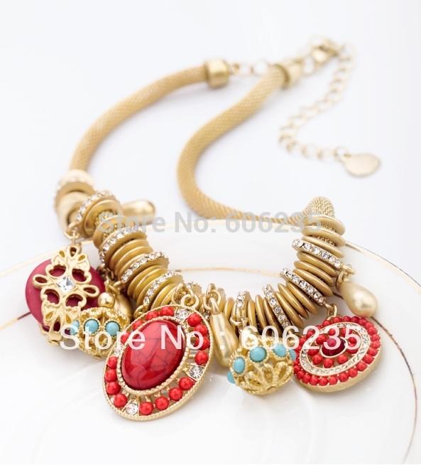 Wholesale Jewelry Bohemian Fake Pearl Beaded Statement Gold Chain Fashion Necklace(China (Mainland))