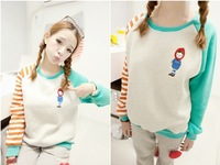 Free shipping sweet red hat girl 2013 autumn and winter casual sweatshirt  loose long-sleeve pullover outerwear