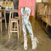 2013 summer women's fashion thin flower ankle length trousers print modal legging