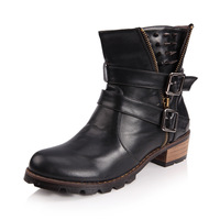 Fashion autumn women's shoes single boots round toe martin boots thick heel ankle boots medium-leg boots