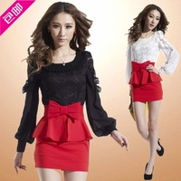 2013 autumn sexy gentlewomen women's slim lace elegant long-sleeve slim hip ol one-piece dress