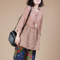 2013 autumn plus size loose solid color fluid long-sleeve slim waist patchwork female shirt top 6137