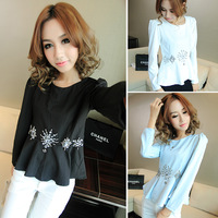 Autumn new arrival 2013 elegant small puff sleeve vintage diamond flower slim waist skirt long-sleeve top e56