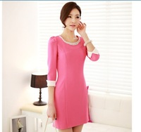 2013 autumn women's basic skirt slim sweet diamond three quarter sleeve all-match ol elegant one-piece dress