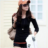 2013 autumn sexy strapless Women hole t-shirt slim o-neck long-sleeve women's basic shirt