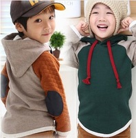 2013 new Autumn and winter children fashion Big yards hooded sweater kids Stitching Cotton outerwear coats Hoody  xk108