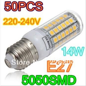 50pcS 14W 5050 SMD 69 LED Corn Bulb Light E27 LED Lamp 220V 360 degree white/Warm White Free Shipping