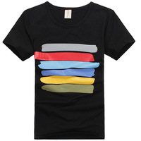 Summer 100% cotton male short-sleeve T-shirt o-neck fashion slim stripe personality the trend of fresh small