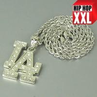 Free shipping B053 Top quality hiphop Bling full rhinestone shiny  DJ MC MLB LA pendant alloy necklace 5pcs/lot