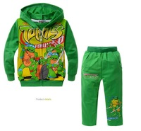 2013 New arrival children set(5pcs/1lot)boys suits 100%cotton hoodie+pants cartoon clothes boys autumn wear green