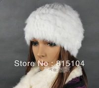 Free shipping Fur Knitted rabbit fur hat cap fur headgear headdress popular Beanies hat OEM/ Wholesale h847