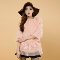 2013 Genuine Fur Rabbit Fur Lace Three Quarter Sleeve Medium-long Outerwear Autumn and Winter Women