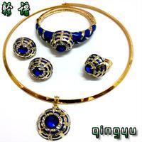 QYJS094 african jewelry set african alloy jewelry bridal jewelry set cheap big red rhinestone jewelry wedding dress