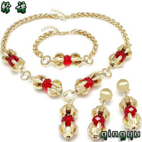 QYJS118 Fashion Newly red/green 2 colors rhinestones jewelry necklaces earrings coral necklace jewelry set