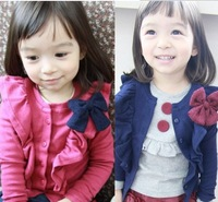 2013 children fall paragraph coat girls bow fly sleeve cardigan foreign trade children's clothes
