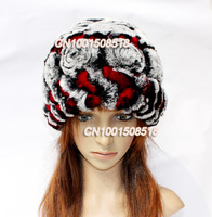 Women Winter otter rabbit 100% Genuine REX  Rabbit Fur Weave Rose flower Hats Headdress Cap
