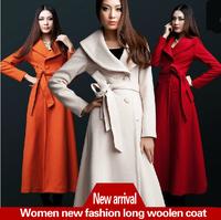 2013 winter cashmere overcoat woolen outerwear women's lengthen thickening slim overcoat Wool Blends Coat