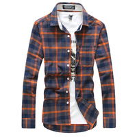 New arrival autumn 2013 male shirt slim men's clothing large plaid cotton teenage fashion van shirt