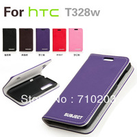 Full protection pu leather flip case for HTC T328W Desire V Desire X, with retail package