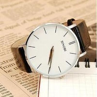SINOBI simple and stylish thin men watches with PU leather belt