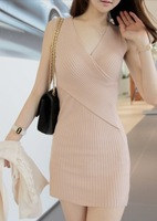 Fashion personality fashion knitted slim hip low-cut V-neck sleeveless one-piece dress