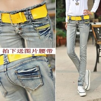 Autumn jeans female trousers slim light color denim trousers low-waist female with belt