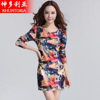 Hot New 2014 t-shirt female long-sleeve slim hip short skirt one-piece dress slim puff sleeve shirt basic t-shirt  Free shipping