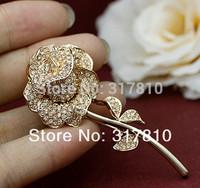 Gold Tone Rose Flower Wedding Brooch with Clear Rhinestone Crystals