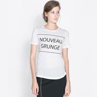 Women's t-shirt Nouveau  grunge letter print white t-shirt short-sleeve o-neck female