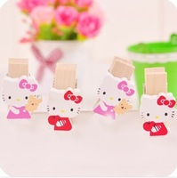 Free Shipping Kawaii Hello Kitty Wooden Clips Photo Clips Memo Note Clips Wholesale