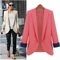 Fast Shipping Wholesale TUBE 2013 Fashion Austumn Out Wear Long Sleeve Ladies Business Suits Pink blue Beige Slim Blazer Women