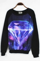 2013 Mujeres Sudadera Vestido, Cute Diamond Graphic Cotton Black Sweatshirt, Free Shipping