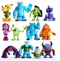 Free Shipping  12pcs a Set Monsters Inc. Monsters University Mike Sully PVC Figure Toy 100 set/lot
