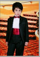 5 piece set male child formal dress boys black suit child costume wedding dress customize