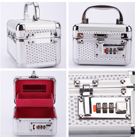 Stainless steel Vanity jewelry storage box double-deck with Password lock