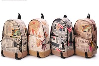 Free Shipping Women Fashion Vintage Cute Newspaper Print Canvas School Book Campus Bag Backpack New 4 Colors hot sale YHZ170