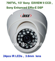 "Free shipping ,700TVL , 1/3"" Sony  EXVIEW II CCD , Enhanced Effio-E ,24pcs IR LEDs Plastic Dome  camera , 3.6mm lens ."