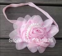 10 pcs New Style, beautiful Pearl chiffon Pink flower headband girl baby hair band headwear Photography props