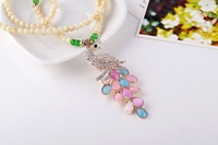 Bohemia color aspect more opal peacock long sweater necklace with Rhinestone free shipping MMN-0037