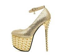 Free shipping   sexy women's pumps 16cm ultra high heels platform party dance shoes rivet pumps Gold bridal shoes