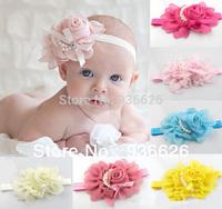 New Style, beautiful Pearl chiffon Pink flower headband girl baby hair band headwear Photography props