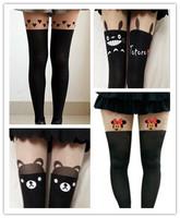 Free Shipping Black White Kitten Cat Tail Patchwork Totoro Stockings Velvet Tattoo Stockings Women Tights Pantyhose Sexy Thin