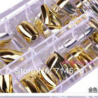 FREE SHIPPING,70pcs/box, 8 color,2013 NEW Fashion Nail Art 3D Decoration,Minx Gold and Silver Shiny Metal Full Cover Nail Tips
