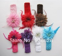 6 PCS NEWBORN BABY TODDLER GIRLS FEATHER HEADBAND HAT BEANIE FLOWER Hair BAND LACE ELASTIC NEW