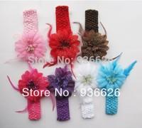 6 PCS NEWBORN BABY TODDLER GIRLS FEATHER HEADBAND HAT BEANIE FLOWER Hair BAND LACE ELASTIC NEW