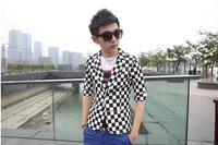2013 Korean version of the suit England Personalized fashion Plaid men's casual short paragraph small suit