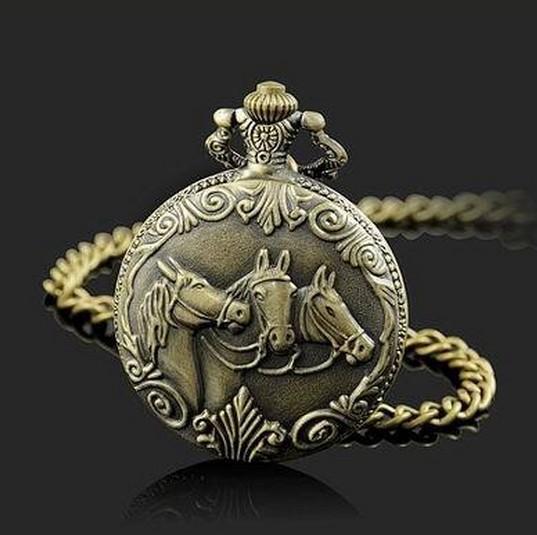 Min Order $15(Can Mix Item)Classical Copper Quartz Terracotta Warriors Three Horse Pocket Watch Best Gift(China (Mainland))