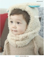 Free shipping!1pc/lot baby Half of cashmere cape with hat,kids kute autumn winter warm knitting cape with velvet  ears
